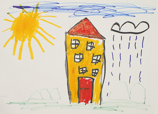 Child's drawing of a yellow house