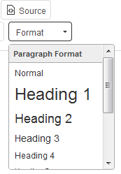 heading format in webtexttool
