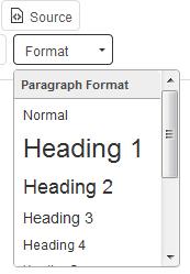 heading format in webtexttool