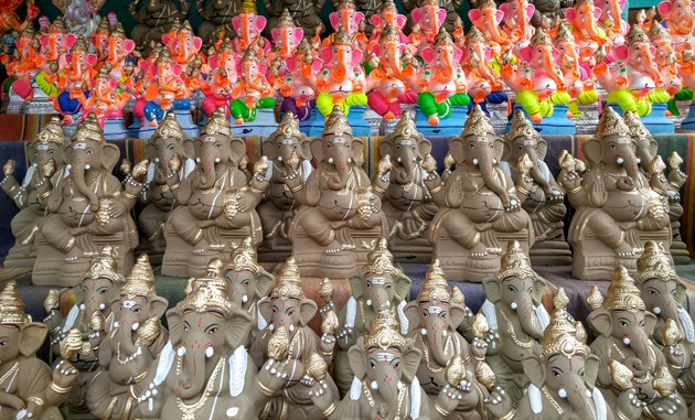 Clay Ganesha Idols for sale before Ganesh Chaturthi in Bangalore