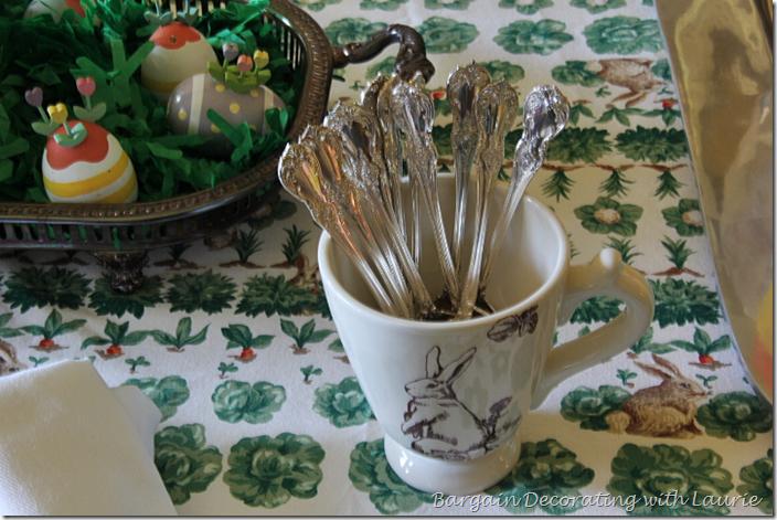 Bunny Toile Mug holding spoons