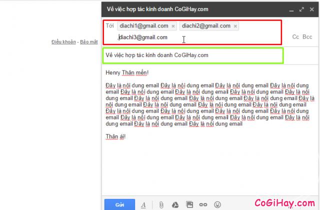 điền thông tin người nhận email
