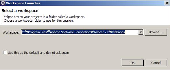 1. 워크스페이스를 TOMCAT_HOME/webapps로 선택한다.