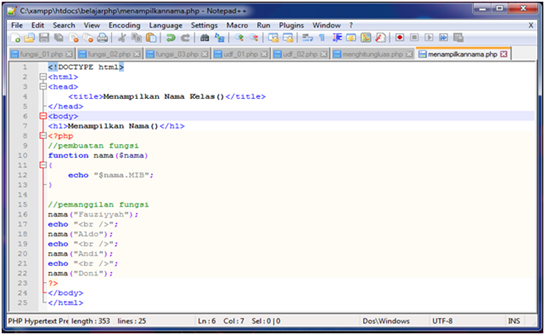 fungsi menampilkan nama kelas
