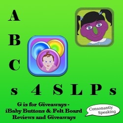 ABCs 4 SLPs: G is for Giveaways - iBaby Buttons and Felt Board Reviews and Giveaways image