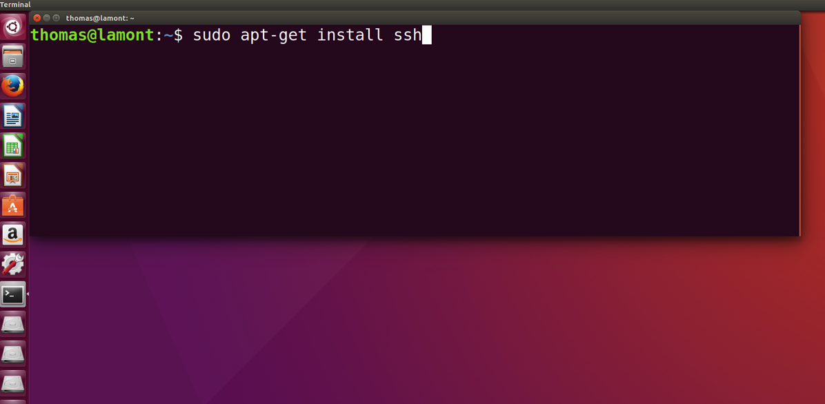 Ubuntu Linux Terminal showing installation of OpenSSH