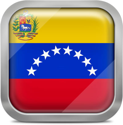 Venezuela square flag with metallic frame