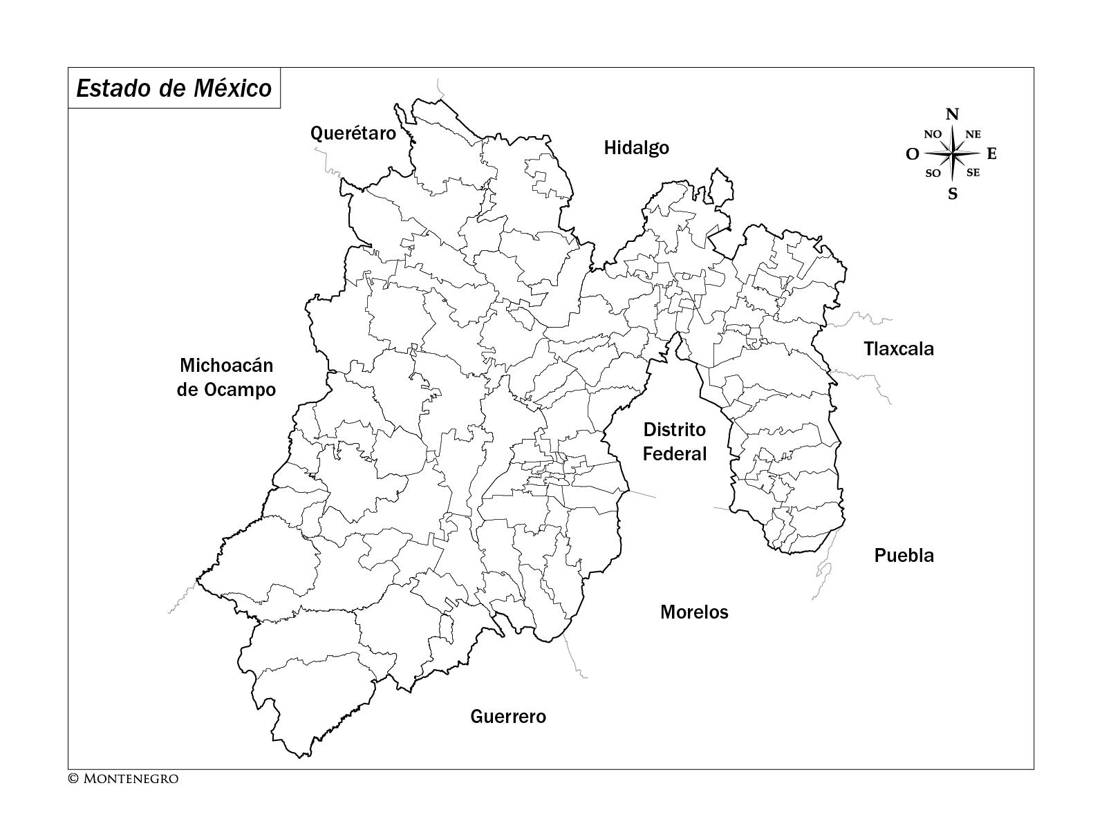 mapa del estado de mexico para colorear
