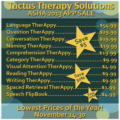 Tactus Therapy Solutions ASHA 2013 App Sale
