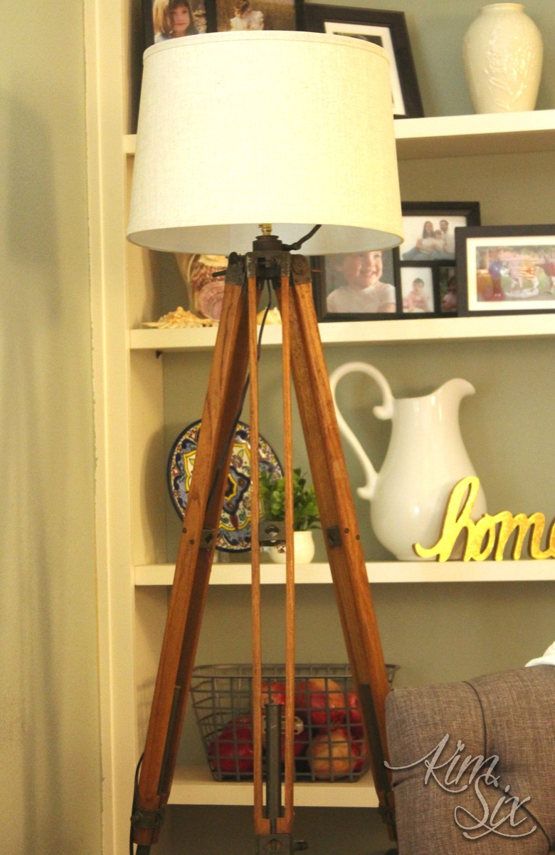 DIY vintage wooden tripod lamp