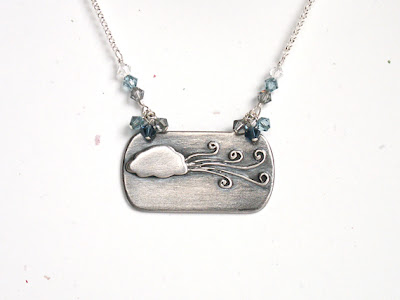 rustic storm windy cloudy dark sky OOAK artisan fun handmade nature elements fine sterling silver necklace with Swarovski crystals