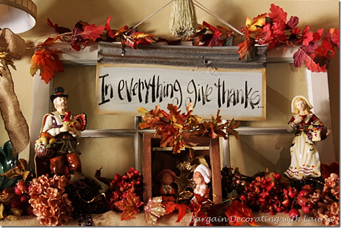 In everything give thanks decor for fireplace mantel