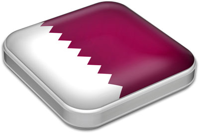 Flag of Qatar with metallic square frame