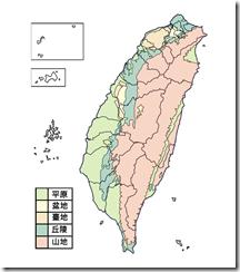臺灣地形分布圖_彩_無字_縣市界