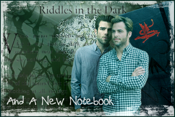 chapter banner: Zach and Chris in the shadow forest of the dining room with the new notebook