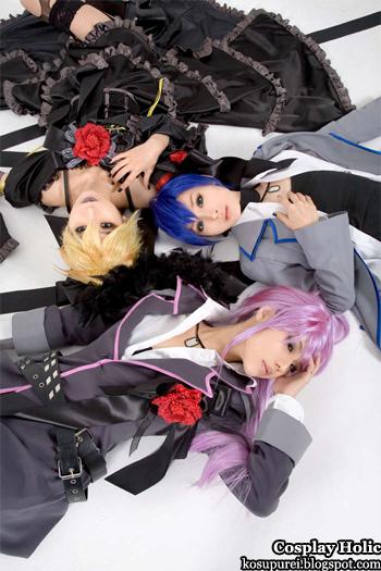 vocaloid 2 cosplay - kagamine len, kaito, and gakupo