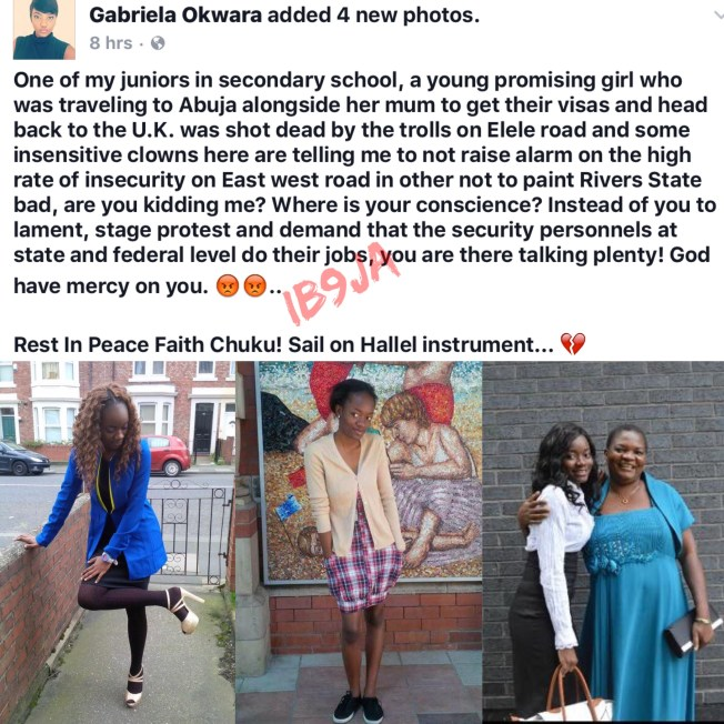 Young Lady Shot Dead By Unknown Gunmen In Rivers State, While On Her Way To Collect Her Visa To Return To The U.K