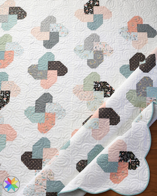 Winsome quilt pattern from A Bright Corner - Woodland Songbirds fabric - I love the scallop border