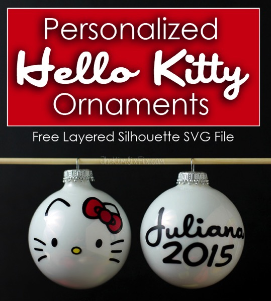 Personalized Hello Kitty Christmas Ornaments made from vinyl.  Includes free layered Silhouette SVG cut file to make your own