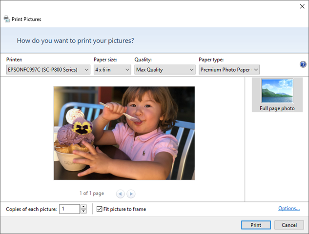 Windows Print Pictures Wizard