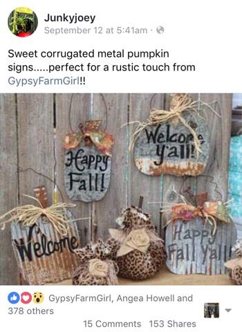 Fall tin pumpkin signs