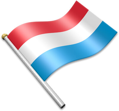The Luxembourgish flag on a flagpole clipart image