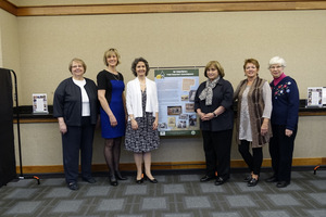 L-R: Project editor DuAnne Sonneville, Project Director Christy Forhan, GWBHS President Gina Gregory, Library Director Clara Bohrer, Project researcher Sue Williams, Project researcher Helen Jane Peters