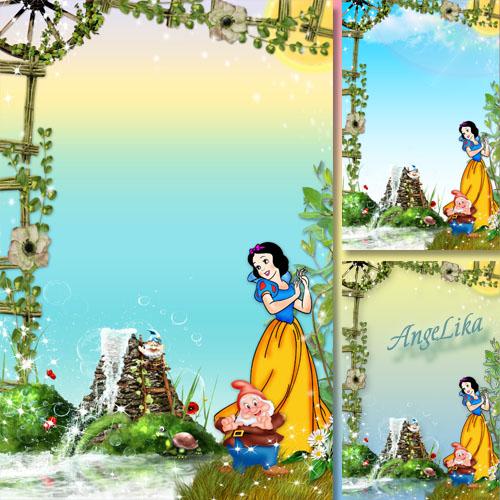 Детская рамка с героями мультфильмов - Белоснежка и гном