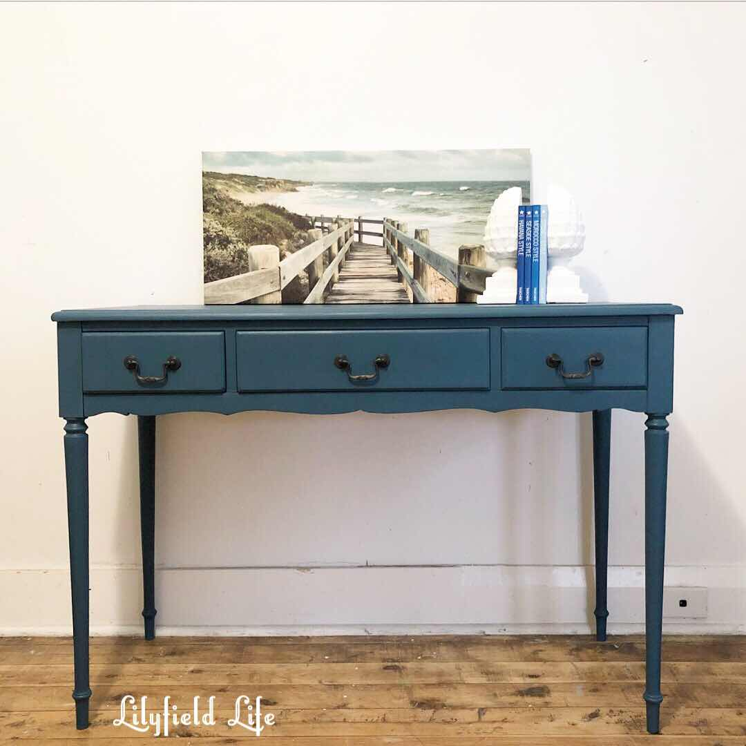 turquoise console table Lilyfield life