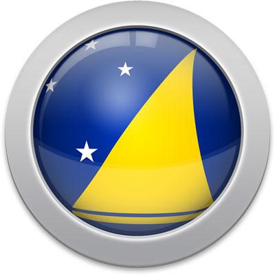 Tokelauan flag icon with a silver frame