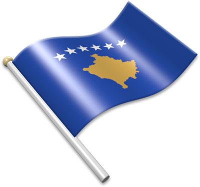 The Kosovar flag on a flagpole clipart image