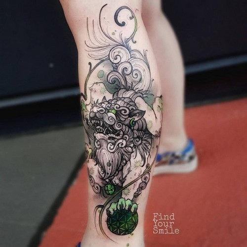 este_invulgar_liondog_guardio_aquarela_tatuagem