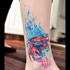 crab aquatic animals - Ankle Tattoos Designs