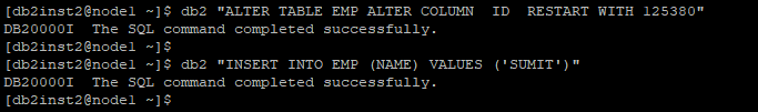 ALTER TABLE EMP ALTER COLUMN  ID  RESTART WITH 125380