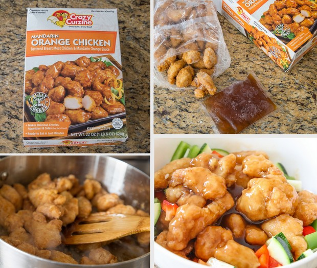photo collage showing the steps to prepare crazy cuizine Mandarin Orange Chicken