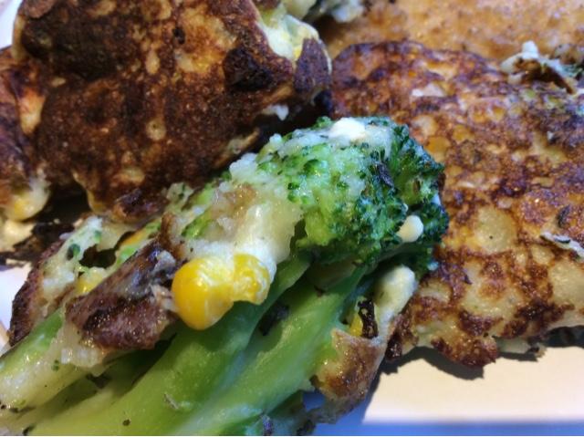 Broccoli , Sweetcorn and Feta Fritters / Frittata