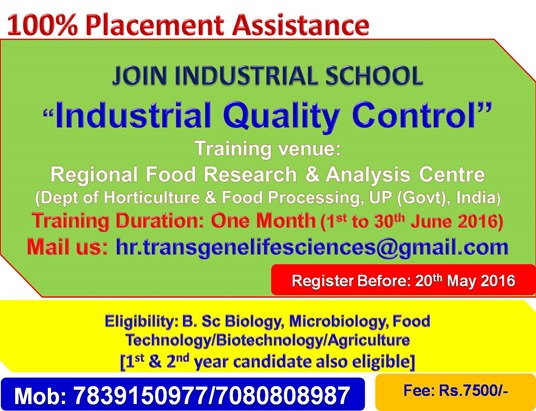 INDUSTRIAL QUALITY CONTROL TRAINING