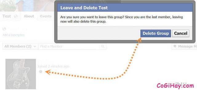 bước 3 xóa nhóm và group facebook