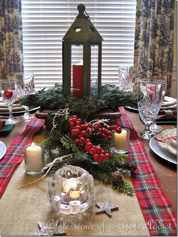 CONFESSIONS OF A PLATE ADDICT Starry Burlap and Plaid Christmas Tablescape