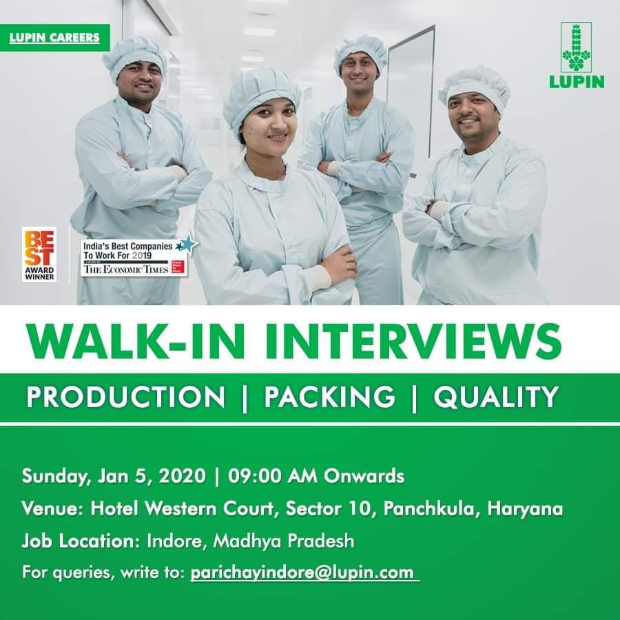 Lupin Ltd   Walk-In Interviews   Sunday, 5 Jan, 2020   for Production, Packing, QC & QA   at Panchkula