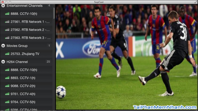 Cài Đặt phần mềm xem tivi, bóng đá trực tuyến SopCast