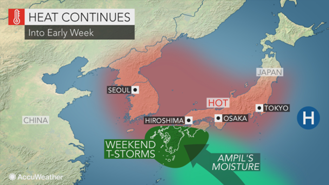 Map showing the deadly heat wave over Japan and Korean, 21 July 2018. Graphic: AccuWeather