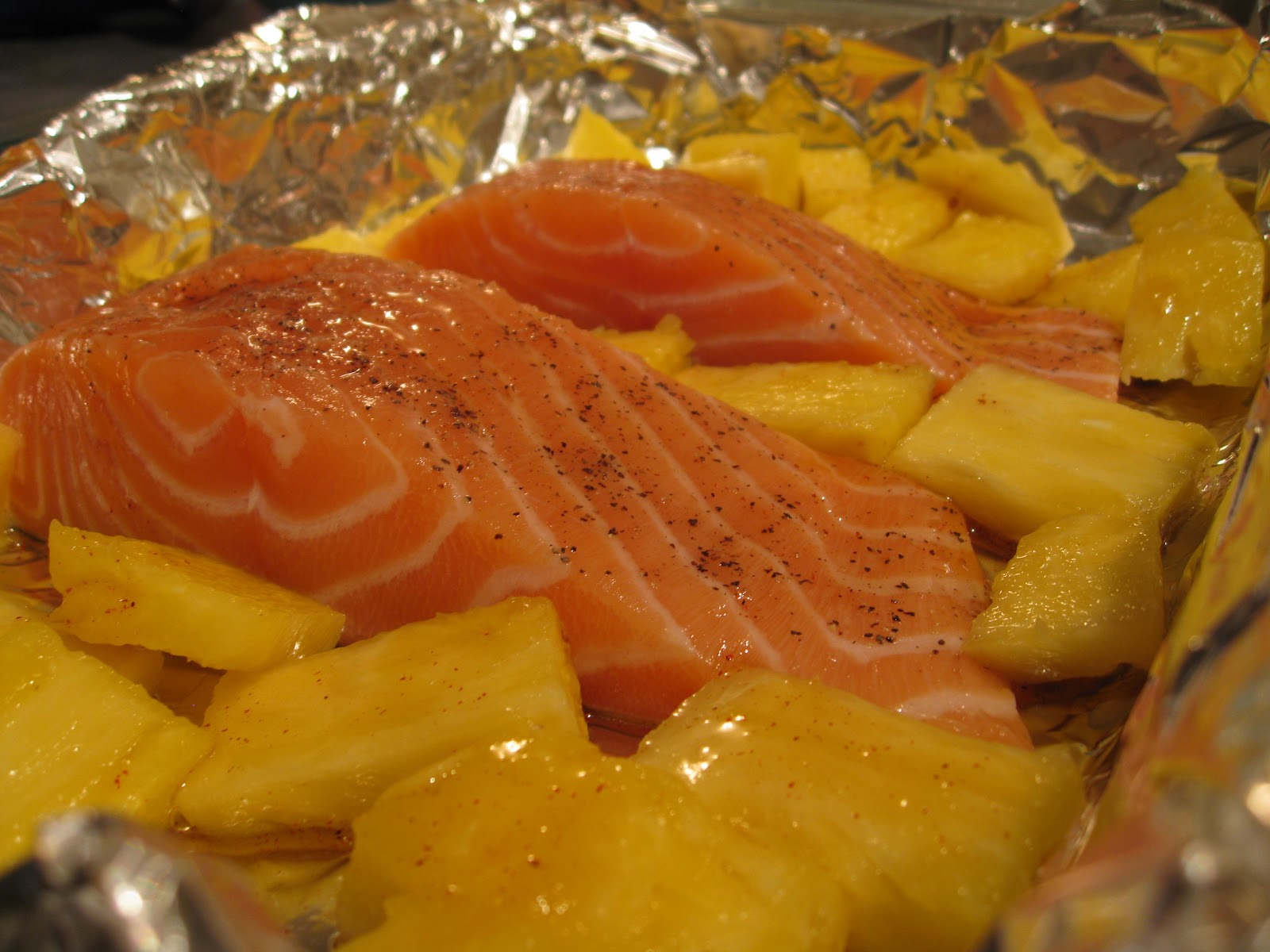 Spray A Baking Sheet Or Dish With Cooking Spray, Arrange Salmon And  Pineapple In A Single Layer In The Pan Brush With Half Of The Maple Syrup  Glaze