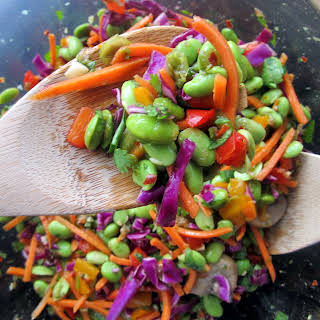 Asian Edamame Salad with Cilantro and Toasted Almonds.