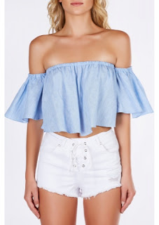Emily Ratajkowski in Blue Off the Shoulder Ruffle Crop Top