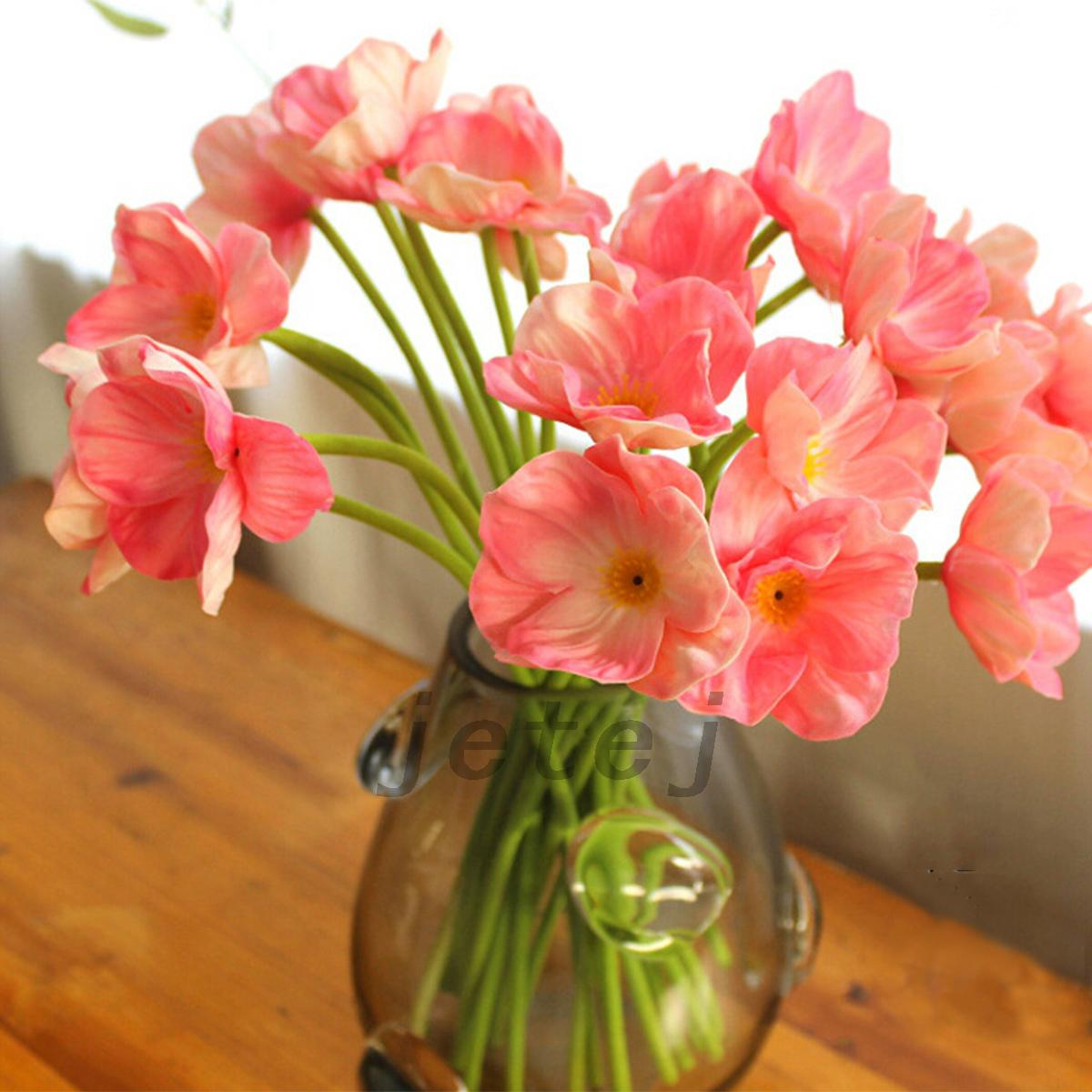 Pink 10pcs Artificial Poppy Silk Flowers Home Wedding Decoration