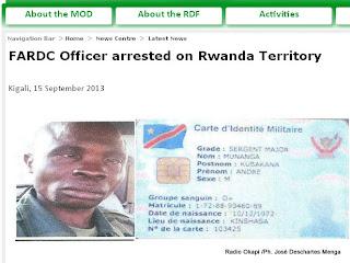 Capture d'écran du site web du ministère rwandais de la Défense