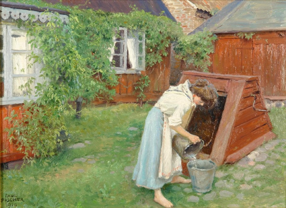 Paul Gustave Fischer - Scene from garden in Båstad, girl fetching water