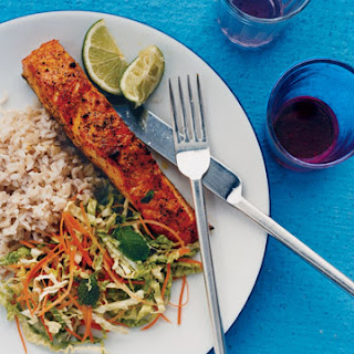 Curry Rubbed Salmon with Napa Slaw