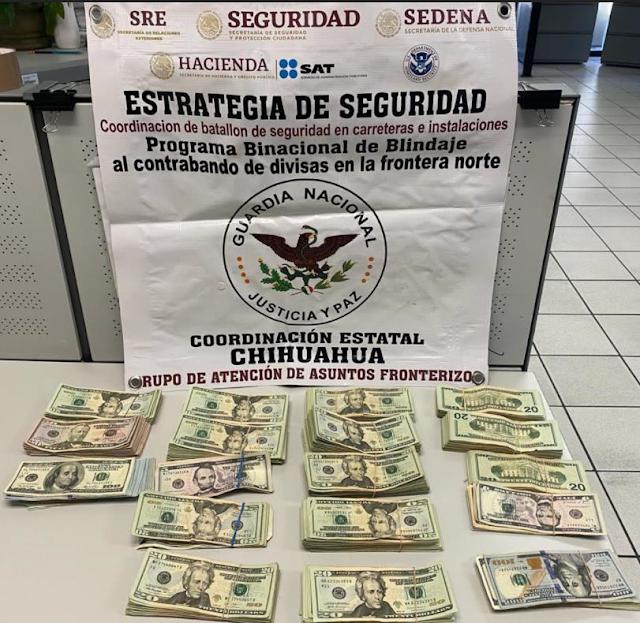 GUARDIA NACIONAL Y SAT INTERCEPTAN MÁS DE 30 MIL DÓLARES EN PUENTE INTERNACIONAL DE CHIHUAHUA